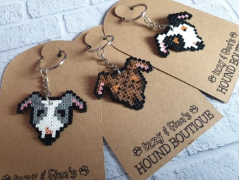 Hound Head Pixel Art Keyrings  **Made to Order**