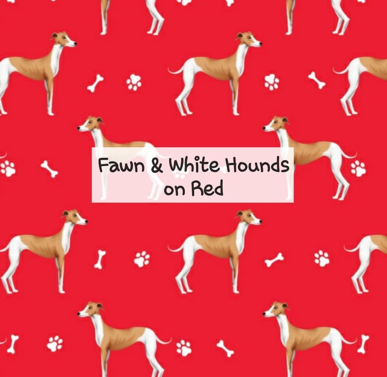 Fawn & White Hounds on Red