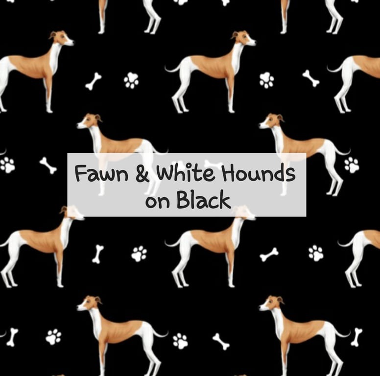 Fawn & White Hounds on Black