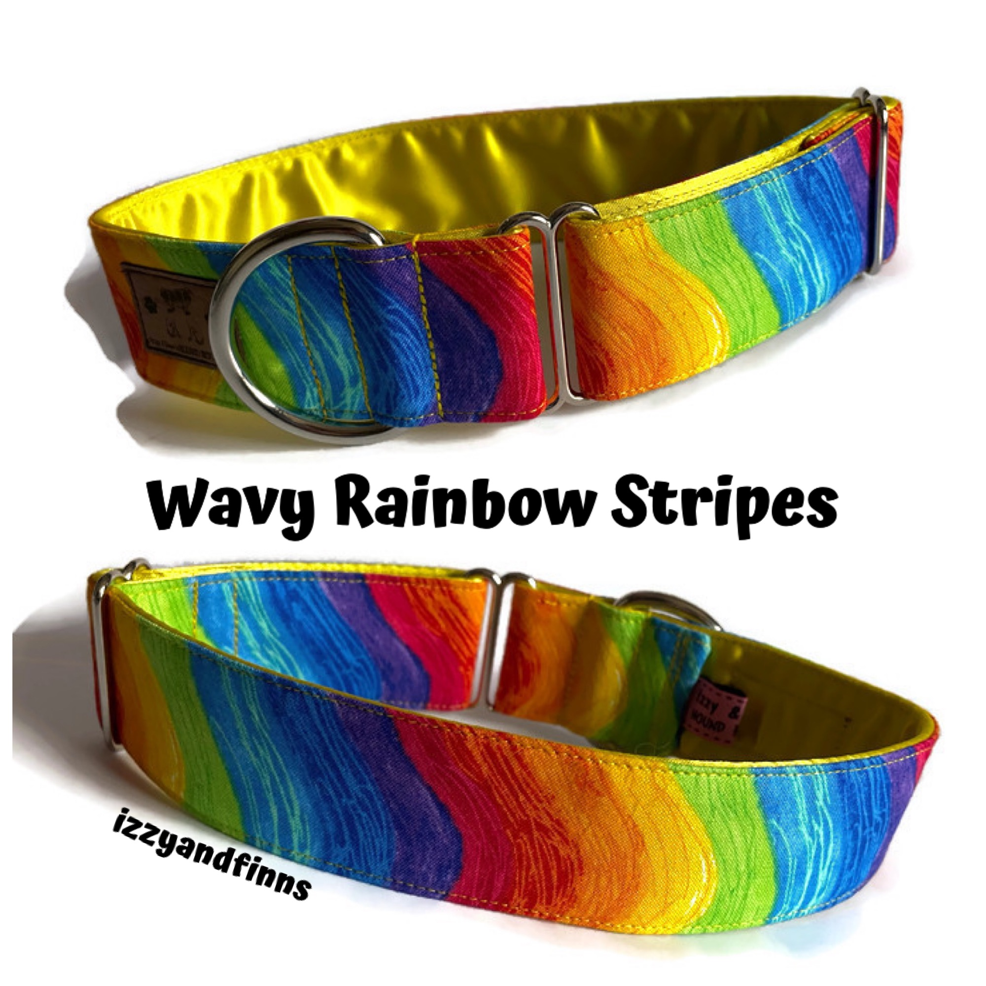 wavy rainbow stripes collar