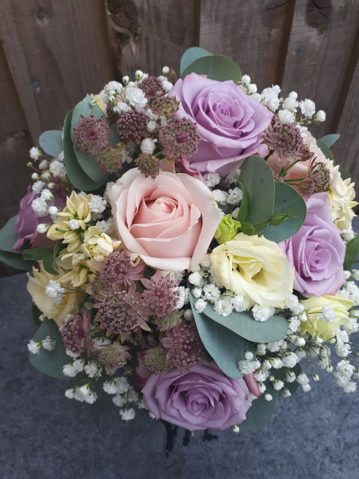 Brides bouquet pink and lilac