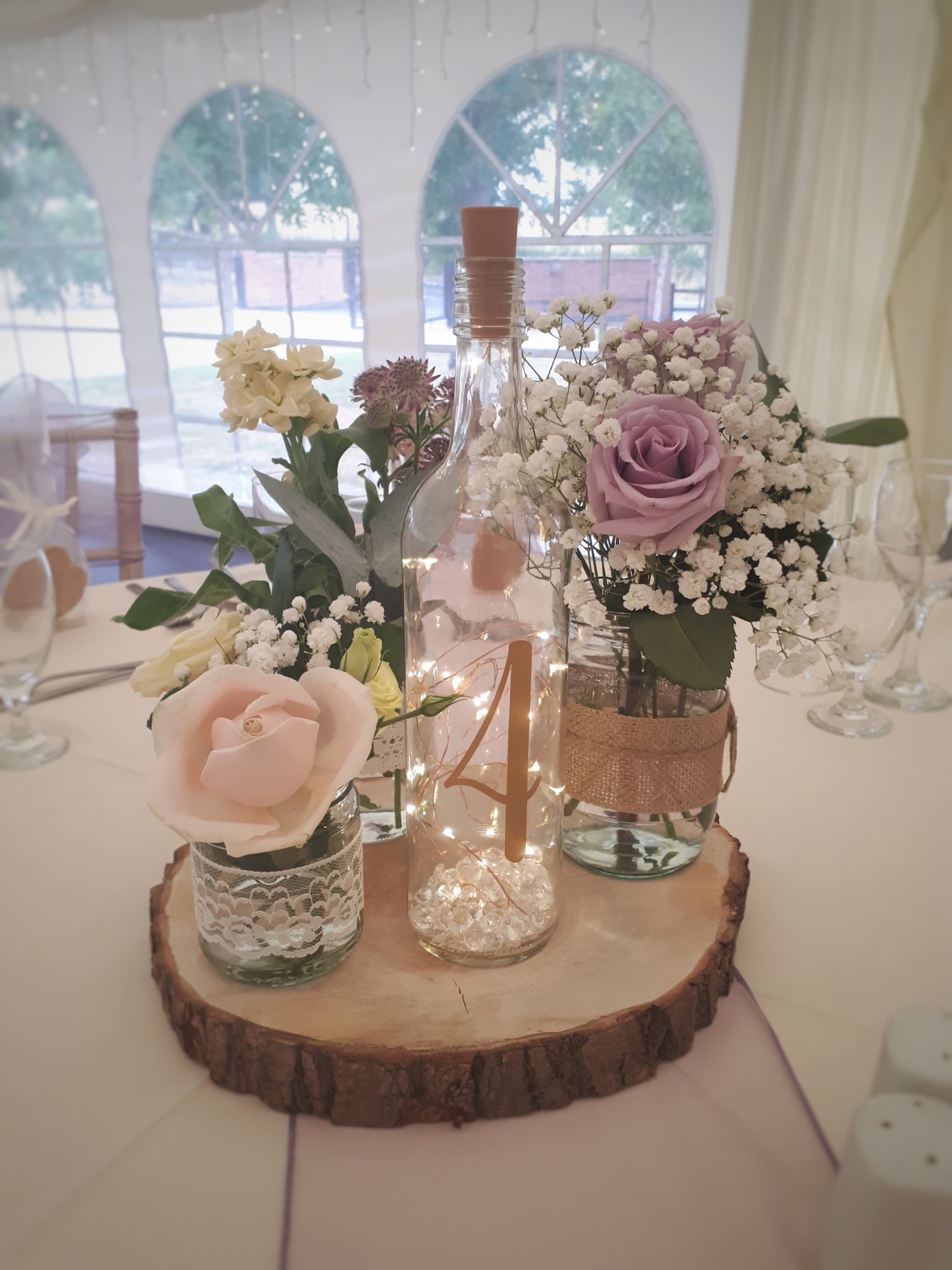 Jam jar flowers wedding