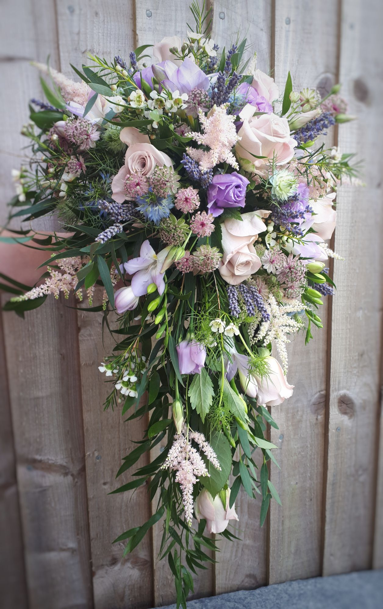 Lilac and blush cascade wedding bouquet