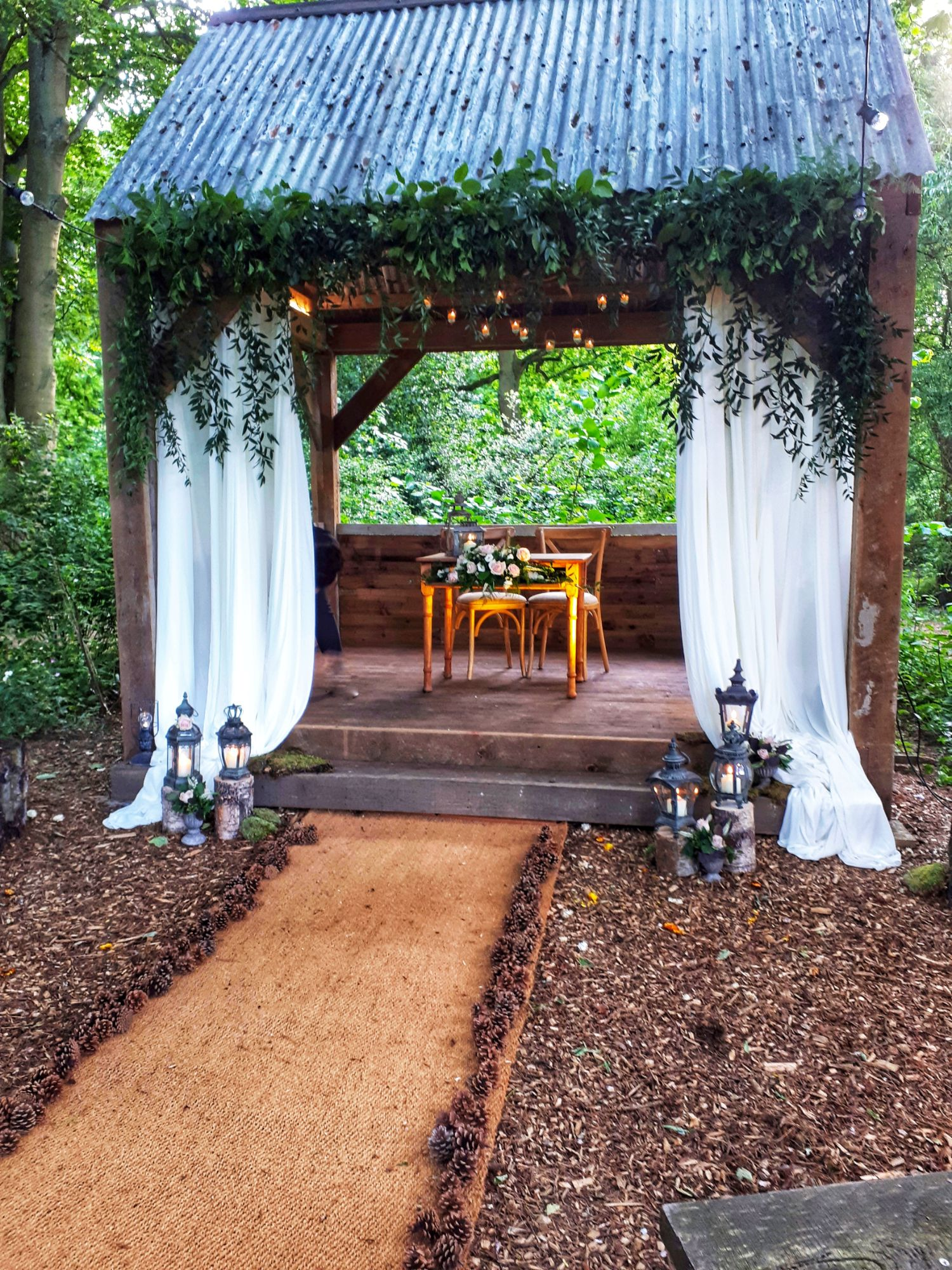 Foliage drapes wedding