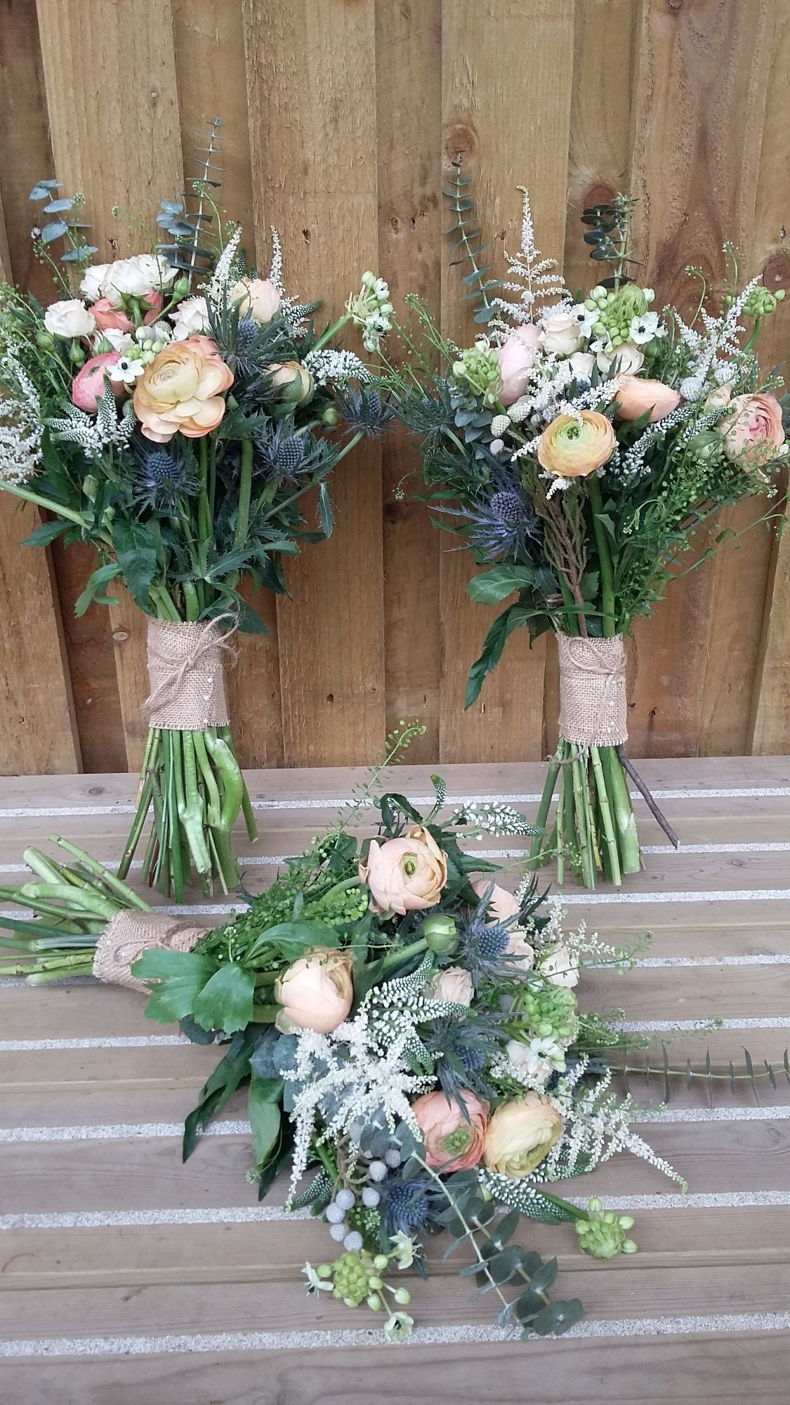 Natural rustic bridesmaids bouquets