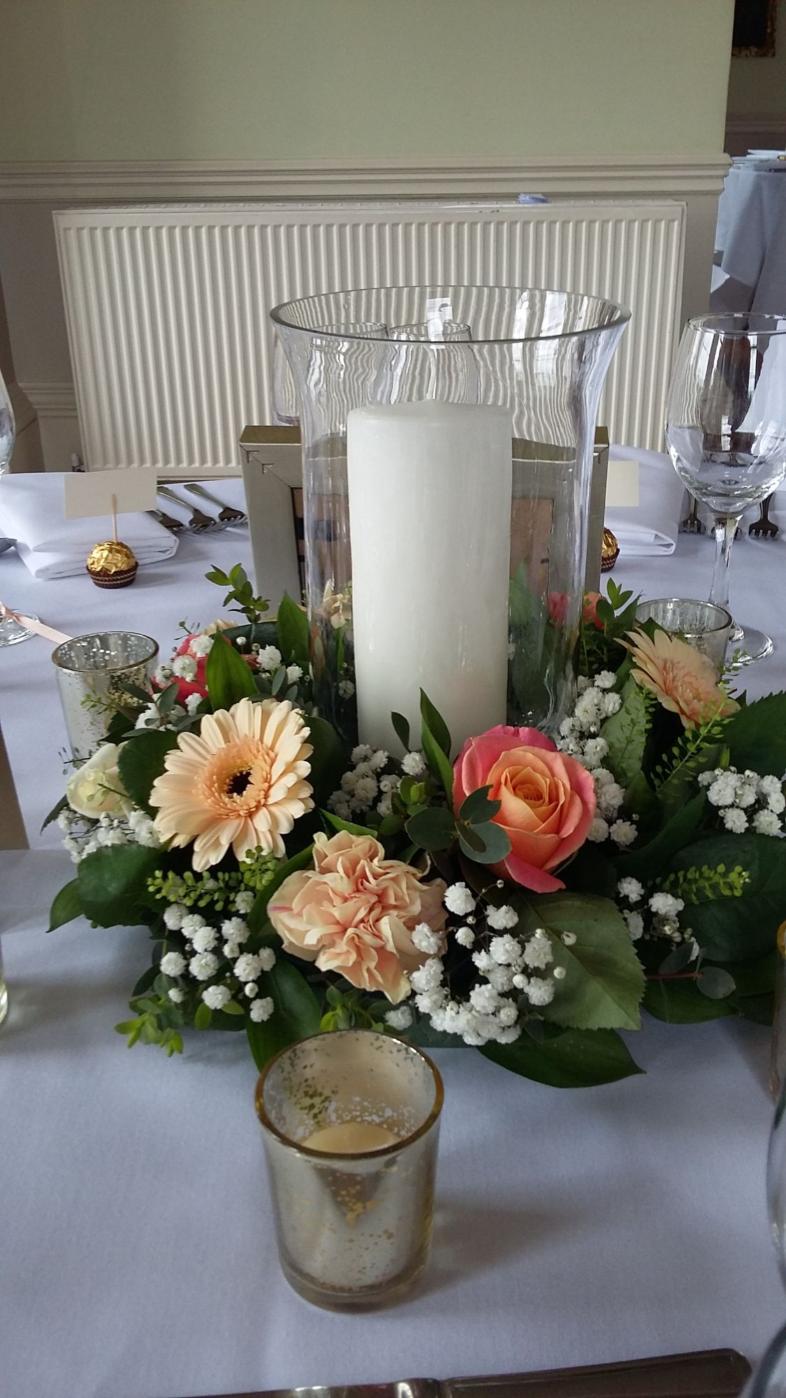 Hurricane vase flowers wedding