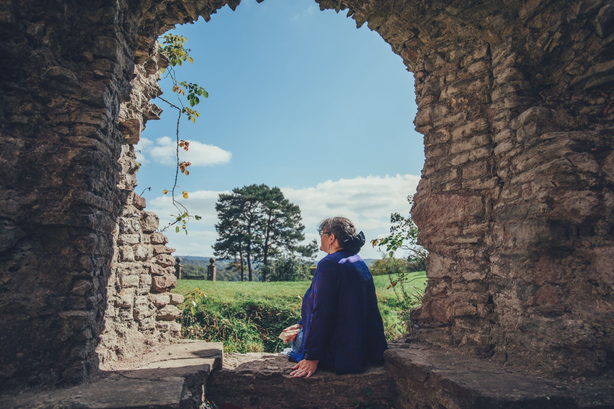 Helen at Usk Castle