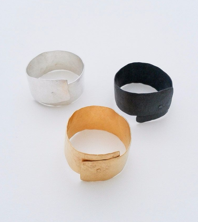 Rings - silver,oxidised silver and gold plated silver