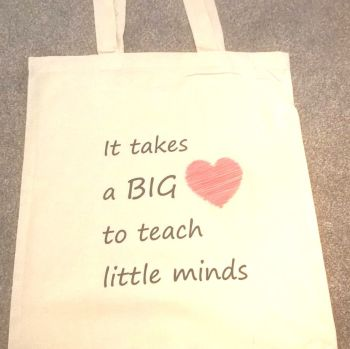 It takes a big heart to teach little minds tote shopping bag
