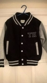 Childs Navy and Grey Varsity Jacket - Embroidered with Initials on the front