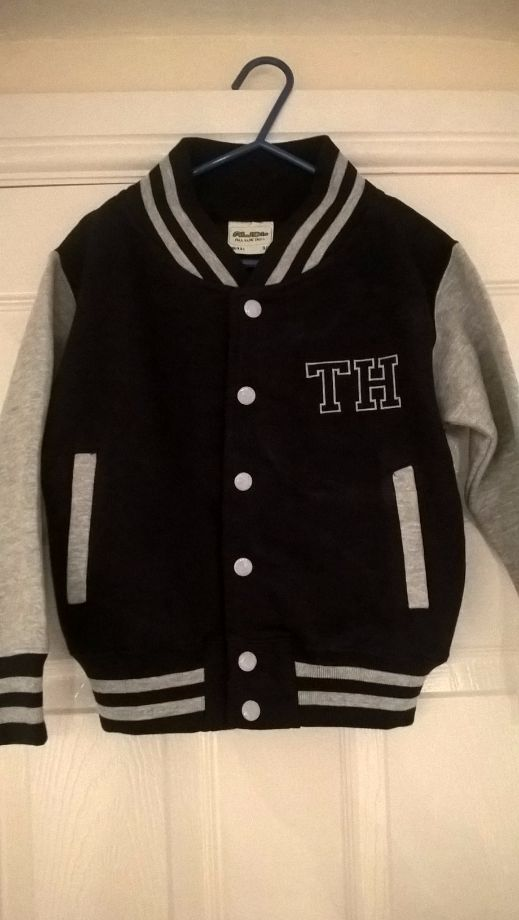Childs Navy and Grey Varsity Jacket - Embroidered with Initials on the fron