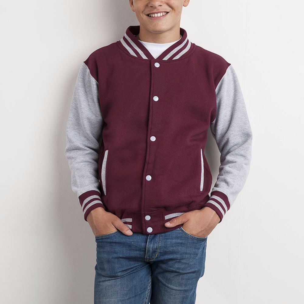 Childs Personalised Burgandy and Grey Varsity Jacket