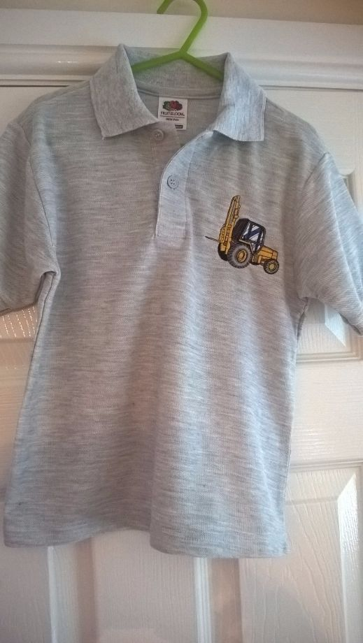 Children's Embroidered Polo Shirt (grey with forklift)