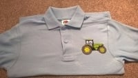 Children's Embroidered Polo Shirt - Sky blue with tractor