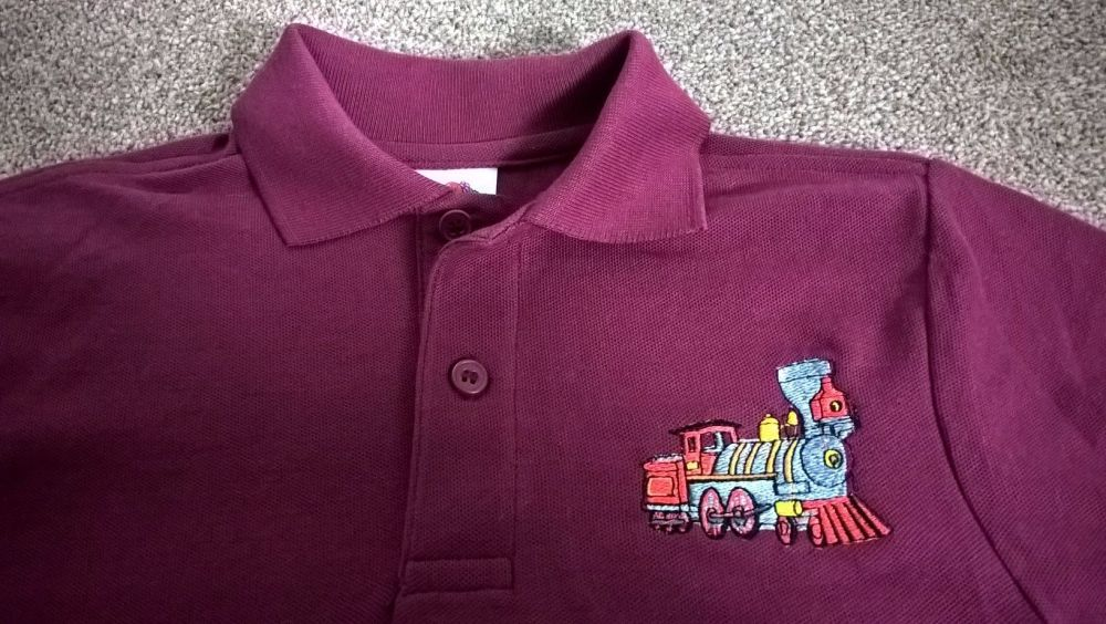 Children's Embroidered Polo Shirt - Burgundy with Steam Train
