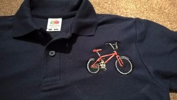 Children's Embroidered Polo Shirt - Navy blue with Pedal Bike