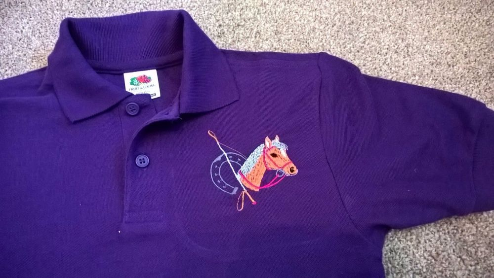 Children's Embroidered Polo Shirt - Purple with embroidered Horse