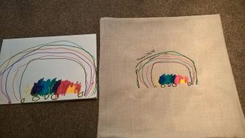 Child's Artwork Embroidered Cushion Cover