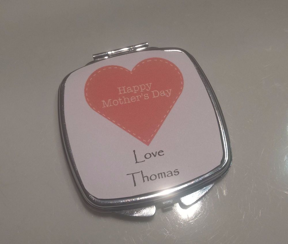 Happy Mother's Day Heart - Personalised Compact Mirror
