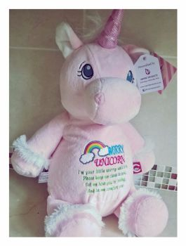 Cubbies Pink Unicorn Personalised with Worry Message