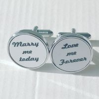 Marry me Today, Love me Forever Cufflinks - round