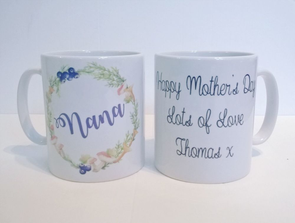 Personalised Floral Wreath Mug - lots of options available