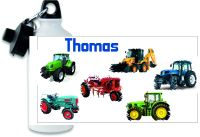 Personalised Tractor themed metal water sports bottle