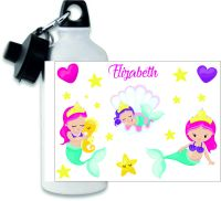 Personalised Mermaid themed metal water sports bottle