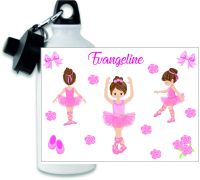 Personalised Ballerina themed metal water sports bottle