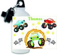 Personalised Monster Truck themed metal water sports bottle