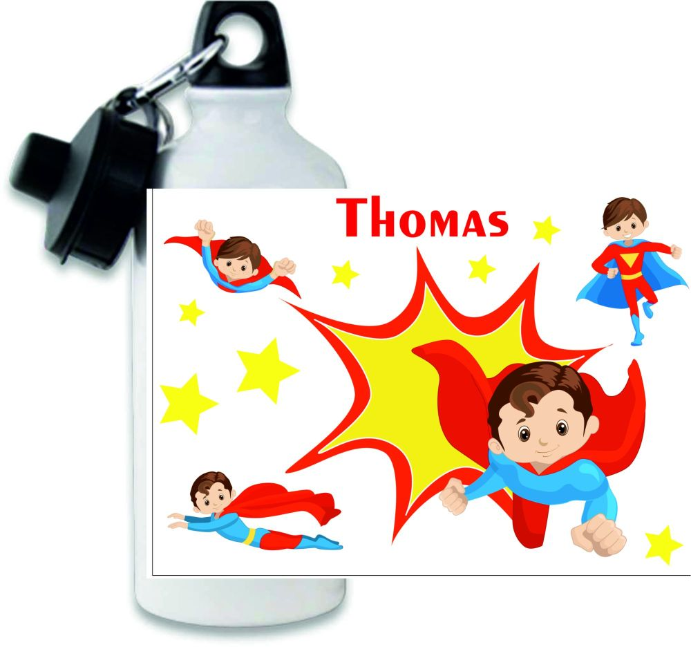 Personalised boys superhero themed metal water sports bottle