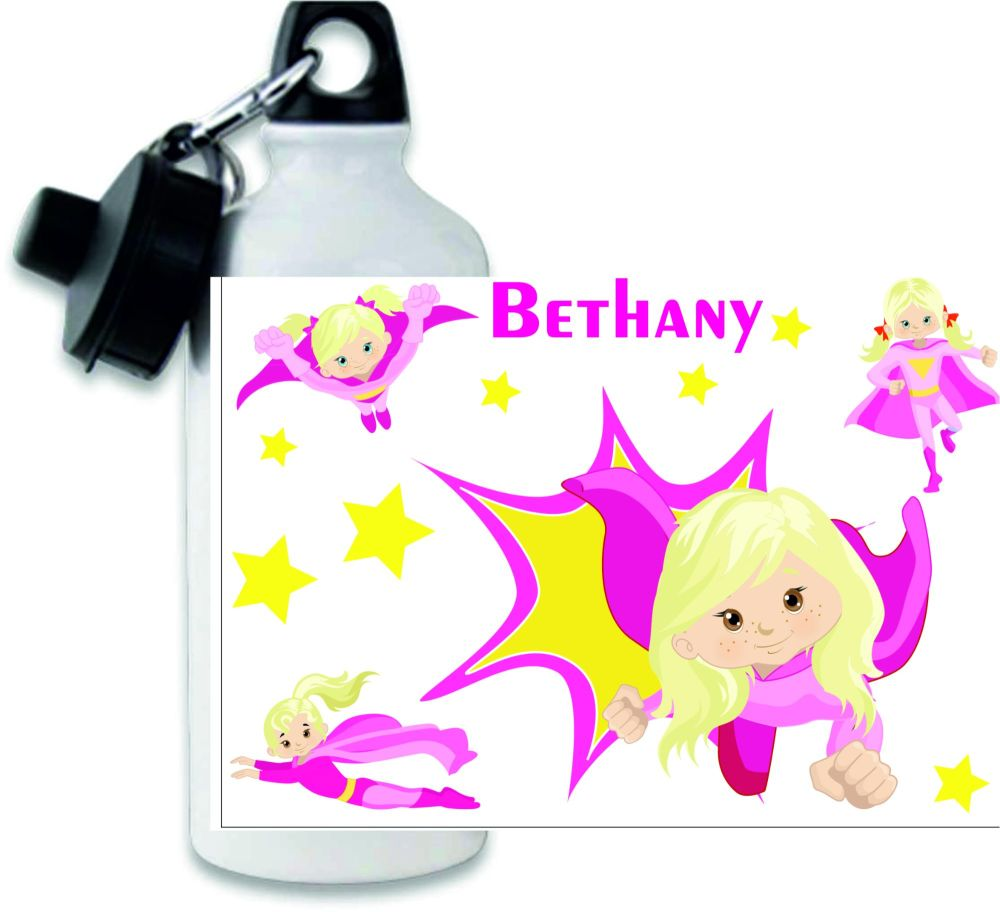 Personalised girls superhero themed metal water sports bottle