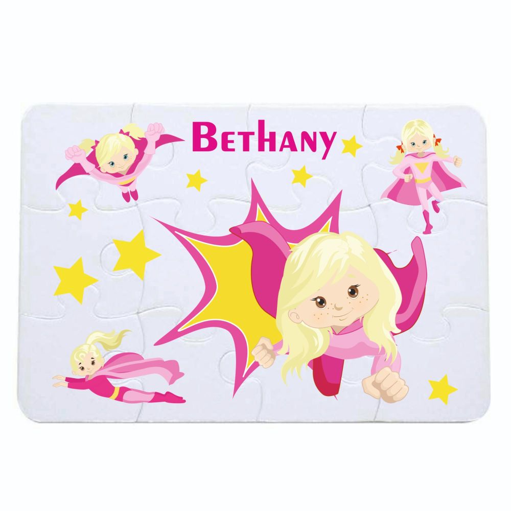 Personalised Girls Super Hero themed jigsaw - 12 piece