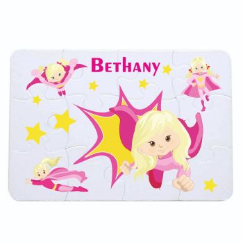 Personalised Girls Super Hero themed jigsaw - 12 or 63 pieces