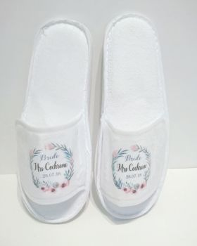 Personalised Bridal Party Floral Wreath Slippers