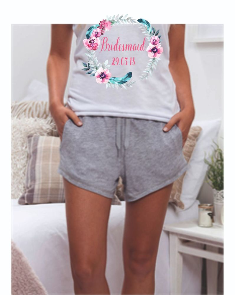 Personalised Floral Wreath Pyjama Set
