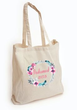 Bridal Party Floral Wreath tote bag