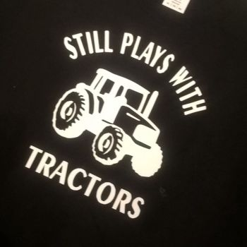 Still plays with Tractors t-shirt - black t shirt