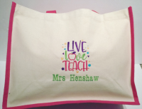 Live, Love, Teach - Personalised Canvas Jute Shopper - Teacher Gift