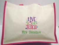 Live, Love, Teach - Personalised Canvas Jute Shopper - Teacher Gift