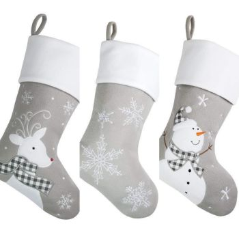 Luxury Personalised Christmas Stocking Grey- 5 designs to choose from