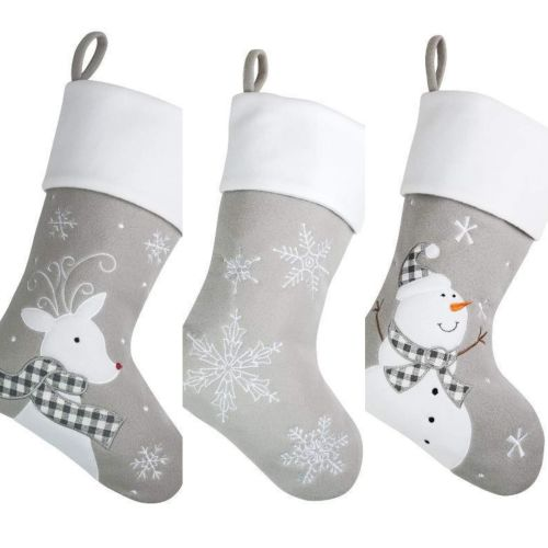 Grey Christmas Stockings Personalised.Luxury Personalised Christmas Stocking Grey 5 Designs To Choose From