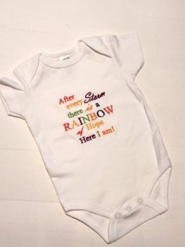 After every storm there is a rainbow of hope here I am -  Embroidered Baby Bodysuit