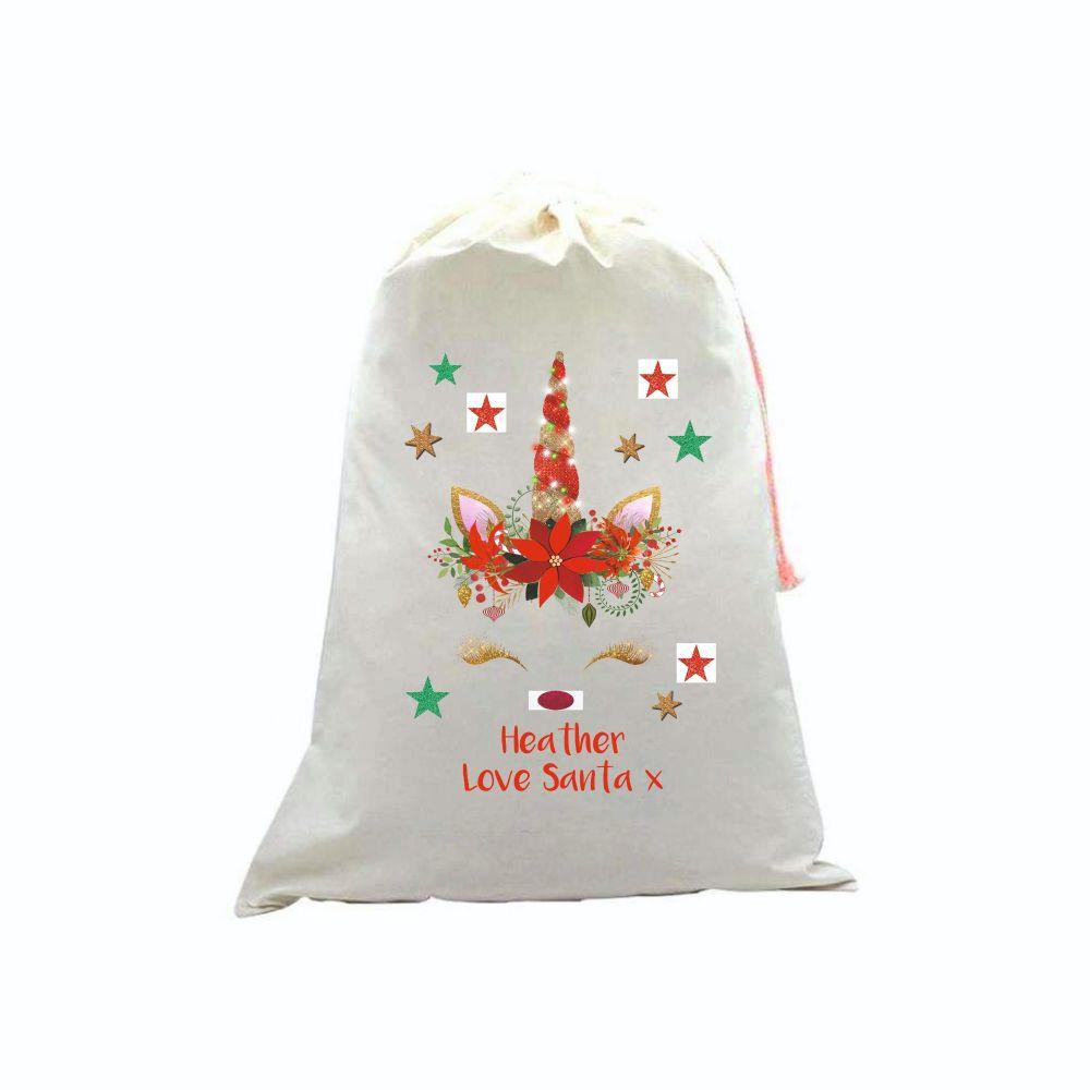Glitter Unicorn Personalised Linen Santa Sack