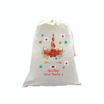 Glitter Unicorn Personalised Linen Santa Sack