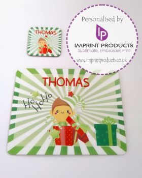 Personalised Elf Placemat and Coaster set