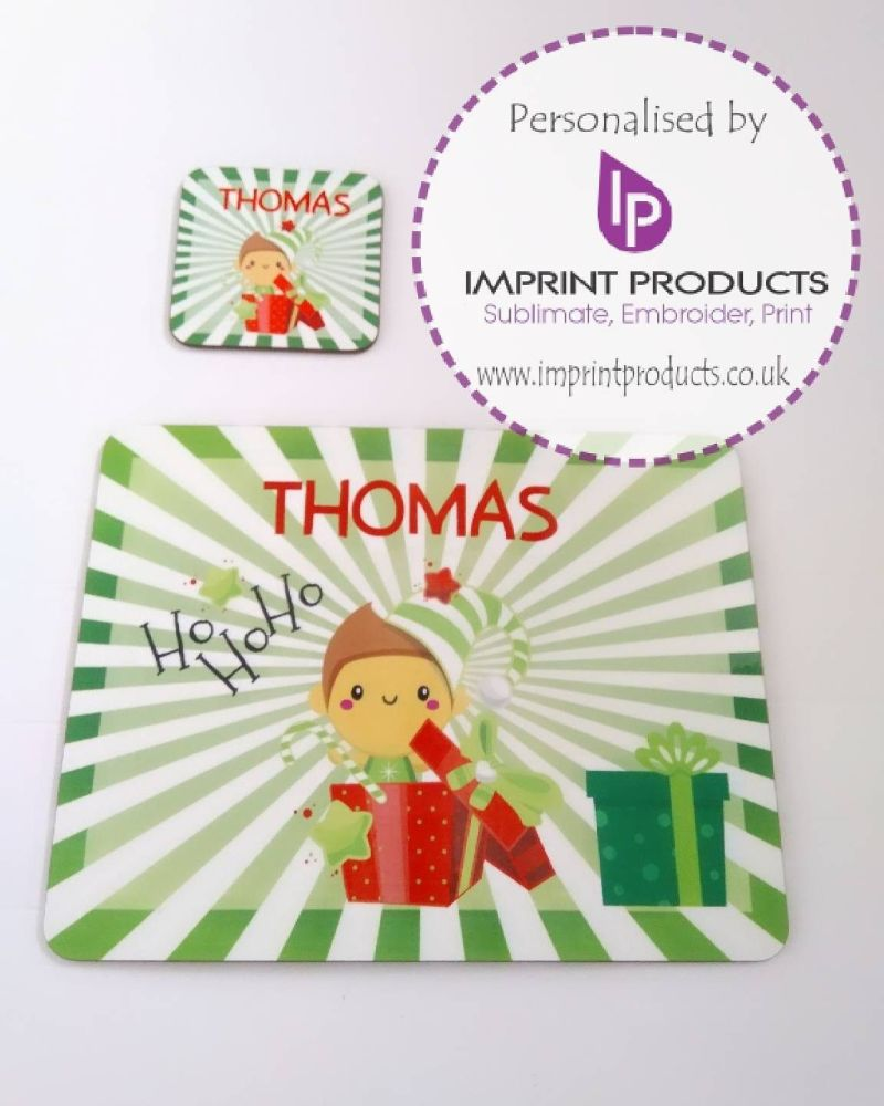 Personalised Elf Placemat and Coaster set by Imprint Products