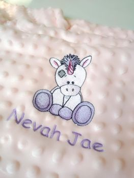 Personalised Unicorn Baby Bubble Blanket by Imprint Products (pink, blue or cream)
