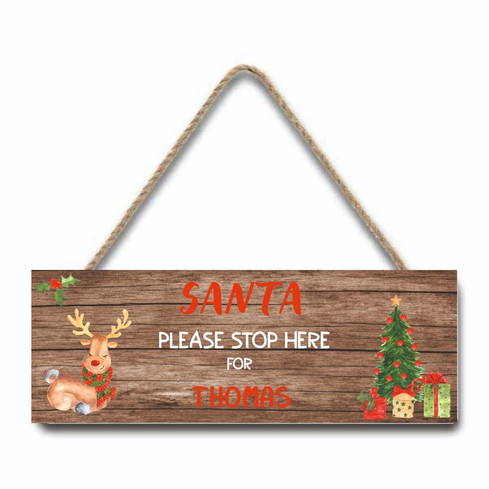 Santa Please Stop Here Personalised Hanging Sign (rustic) by Imprint Produc