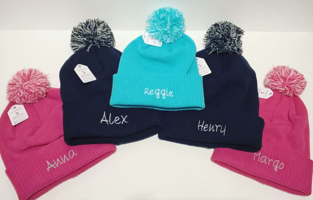 Child Personalised Beanie Bobble Hats | Name Bobble Hats | Kids Personalise